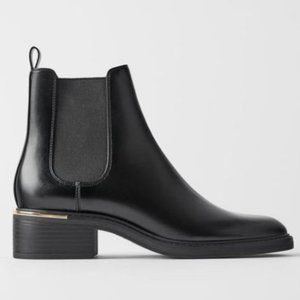 ZARA NEW Low Heeled Ankle Boots Trim at Heel Black